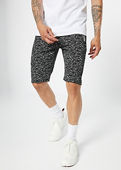 Black Space Dye Reflective Knit Shorts