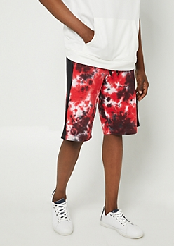 Red Tie Dye Print Jogger Shorts