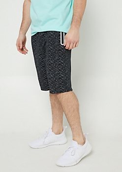 Black Space Dye Print Reflective Jogger Shorts