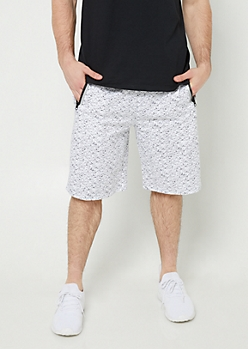 White Space Dye Print Reflective Jogger Shorts