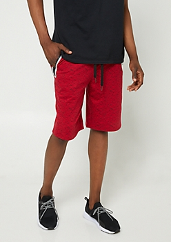 Red Space Dye Print Reflective Jogger Shorts
