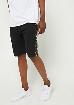 Black Splatter Paint Stripe Knit Shorts