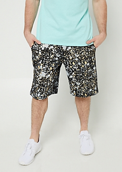 Black Foil Paint Splatter Jogger Shorts