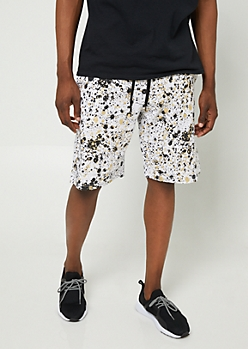 White Foil Paint Splatter Jogger Shorts