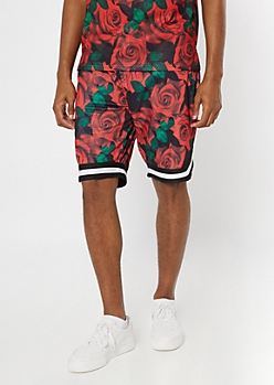 Black Rose Print Jersey Active Shorts
