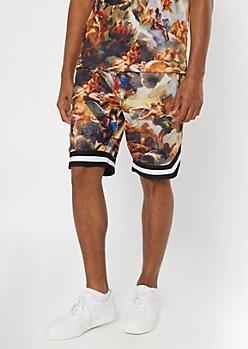 Cherub Print Jersey Active Shorts