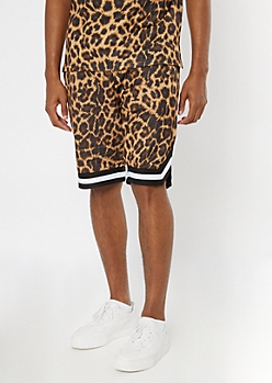 Cheetah Print Jersey Active Shorts