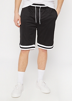 Black Striped Trim Jersey Active Shorts