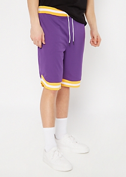 Purple Striped Trim Jersey Active Shorts