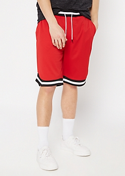 Red Striped Trim Jersey Active Shorts