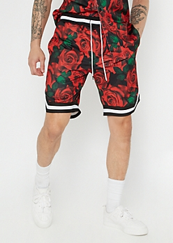 Red Rose Print Jersey Shorts