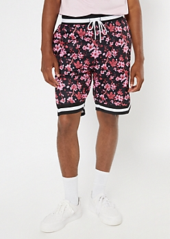 Black Floral Print Track Pant Shorts