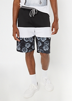 Black Floral Print Colorblock Tricot Shorts