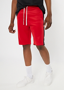 Red Side Striped Active Tricot Shorts