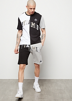 Black Pyramid Black Colorblock Chenille Shorts