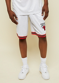 NBA Chicago Bulls White Marbled Print Athletic Shorts