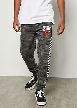 NBA Chicago Bulls Gray Space Dye Checkered Print Joggers