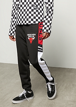 NBA Chicago Bulls Black Colorblock Side Striped Track Pants