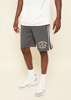 NBA Cleveland Cavaliers Gray Ribbed Knit Side Striped Shorts