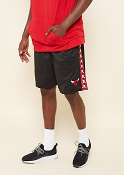 NBA Chicago Bulls Black Side Striped Patch Athletic Shorts