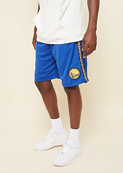 NBA Golden State Warriors Blue Side Striped Athletic Shorts