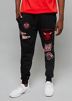 NBA Chicago Bulls Black Patch Joggers