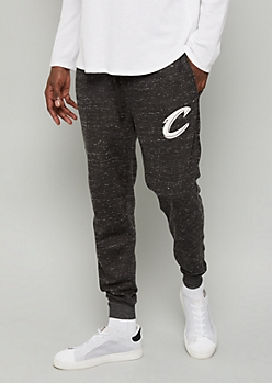 NBA Cleveland Cavaliers Black Marled Fleece Graphic Joggers