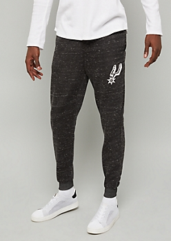NBA San Antonio Spurs Black Marled Fleece Graphic Joggers
