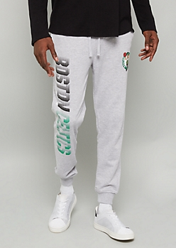 NBA Boston Celtics Gray Racer Stripe Joggers