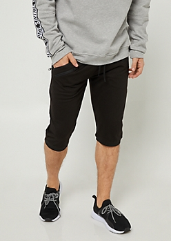 Black Zipper Pocket Knit Shorts