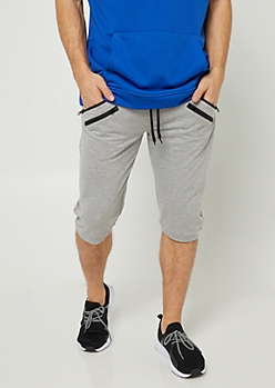 Heather Grey Zipper Pocket Knit Shorts