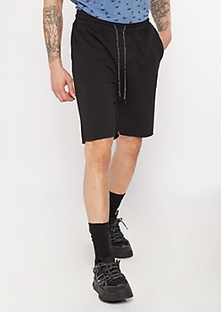 Black Raw Hem Sweat Shorts