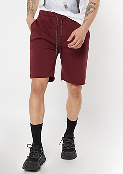 Burgundy Raw Hem Sweat Shorts