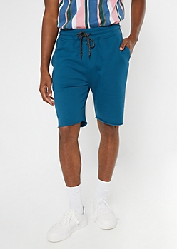 Dark Teal Raw Hem Sweat Shorts