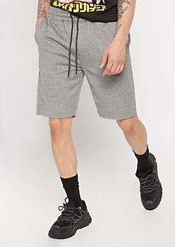 Gray Raw Hem Sweat Shorts