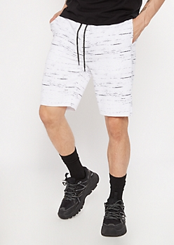 White Space Dye Raw Hem Sweat Shorts