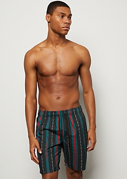 Black Striped Savage Print Swim Trunks