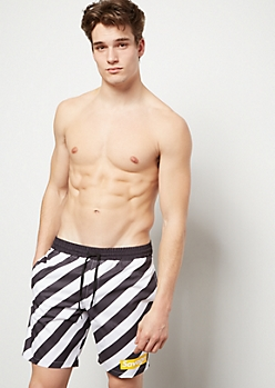 Black Diagonal Striped Savage Swim Trunks