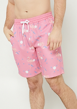 Pink Flamingo Swim Trunks