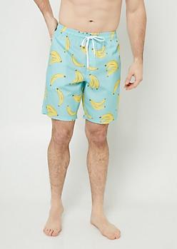 Mint Banana Swim Trunks