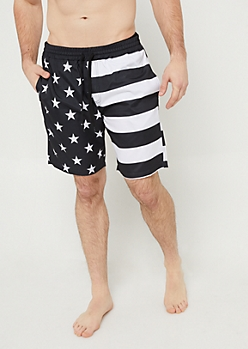 Black Stars and Stripes Swim Trunks