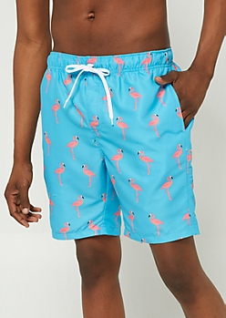 Blue Flamingo Swim Trunks