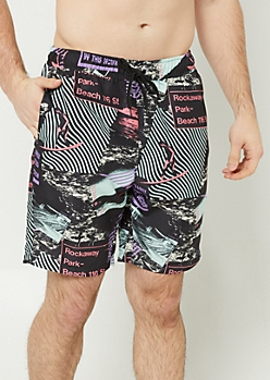 Black Rockaway Park Swim Trunks