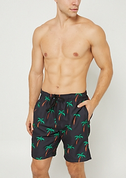 Black Palm Tree Swim Trunks