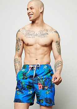 Blue Tropical MTV Print Swim Trunks