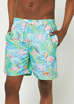 Blue MTV Flamingo Swim Trunks