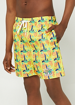 Yellow MTV Hummingbird Swim Trunks