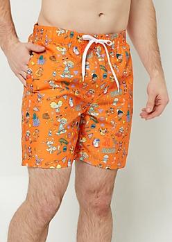 Orange Nickelodeon Toon Swim Trunks