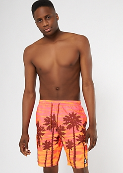 Neff Orange Palm Print Swim Trunks