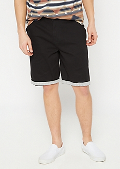 Black Print Cuff Chino Shorts